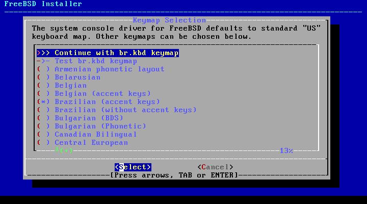 FreeBSD - layout de teclado