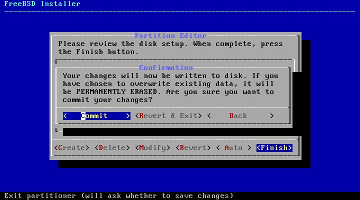 FreeBSD - confirmação de particionamento do disco