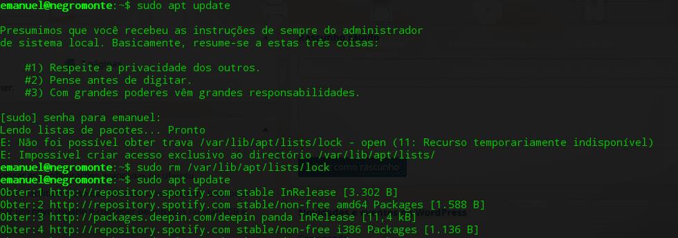Não foi possível obter trava /var/lib/apt/lists/lock - open (11: Recurso temporariamente indisponível)