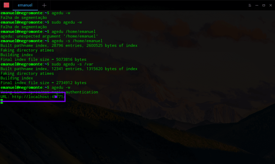 verificar espaço em disco desperdiçado no HDD SSH Linux Agedu