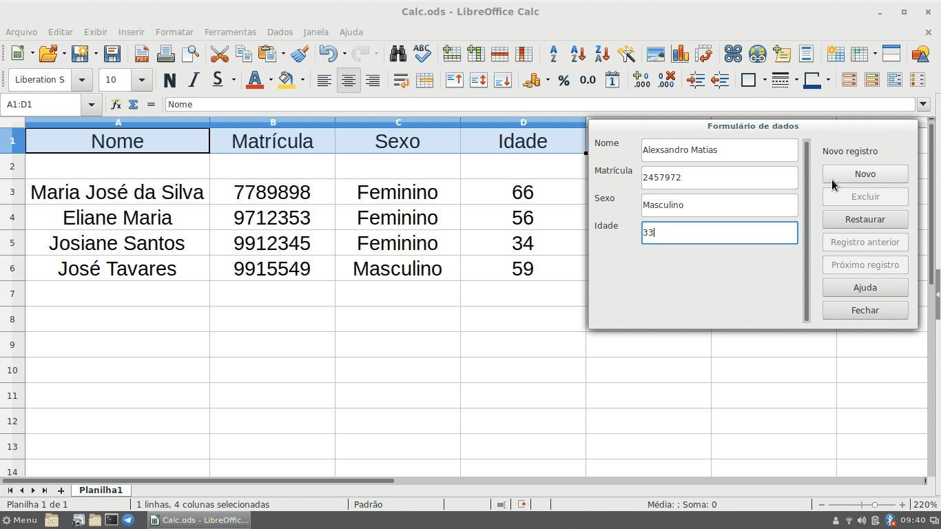 formulários no Libreoffice