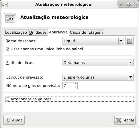 Configuração da atualização meteorológica aparência