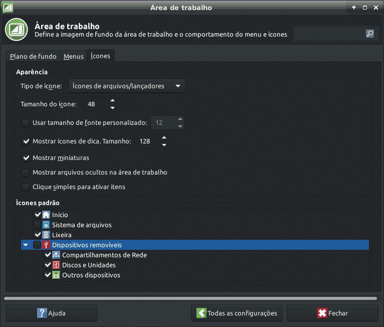 Configurações área de trabalho ícones