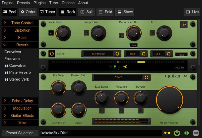 Guitarix editor de áudio