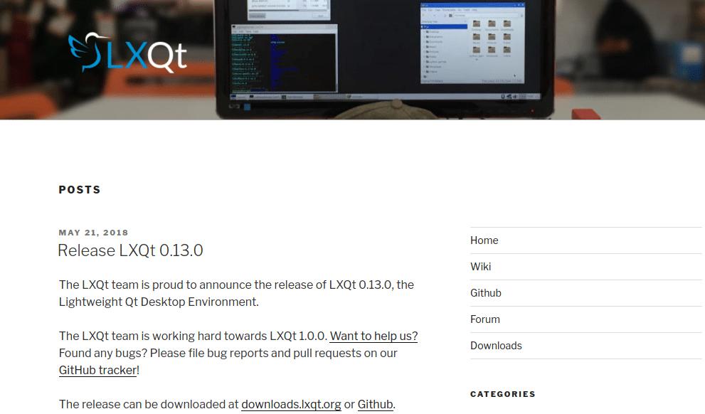 Página Blog LXQt