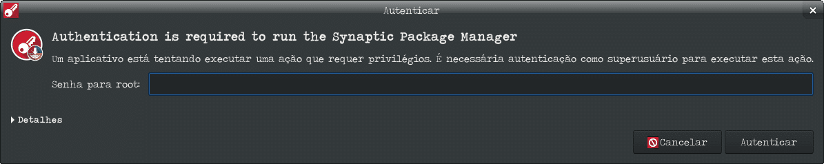 Reconhecer o Moto G4 Play no Debian Stretch Xfce - autenticação do Synaptic.