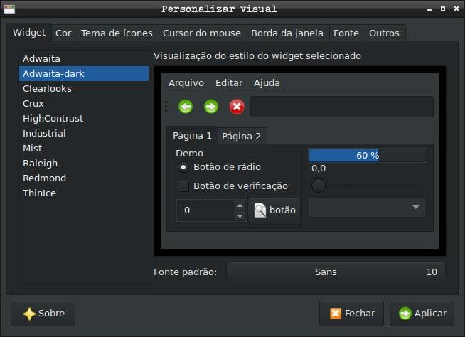 Como instalar tipo de fontes e personalizar no Debian - Personalizar visual