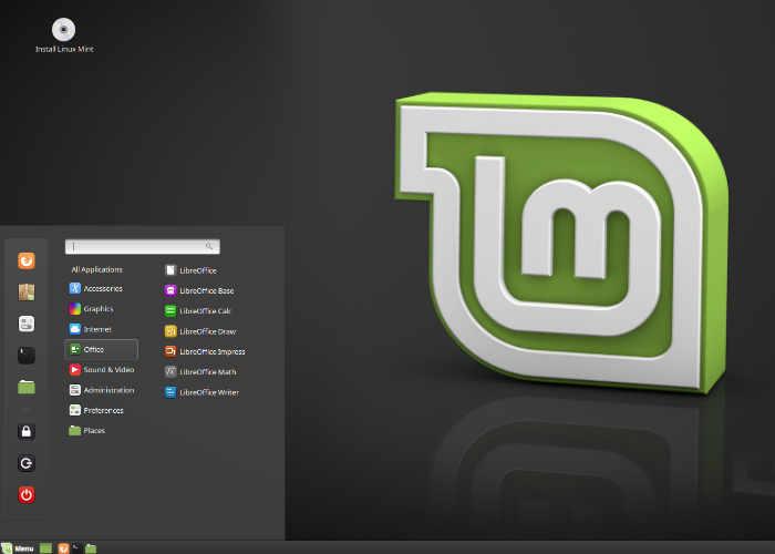 interface gráfica no Linux Mint