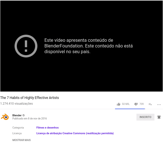 Youtube bloqueia vídeos do Blender