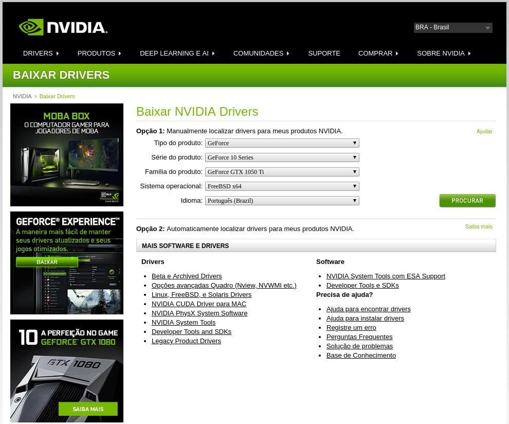 Como Instalar driver NVidia GeForce GTX 1050Ti no FreeBSD - procurar driver