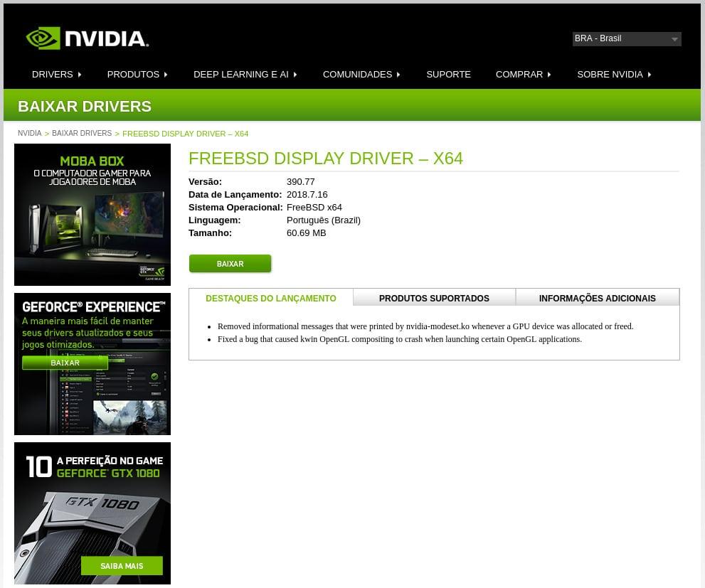 Como Instalar driver NVidia GeForce GTX 1050Ti no FreeBSD - driver nvidia