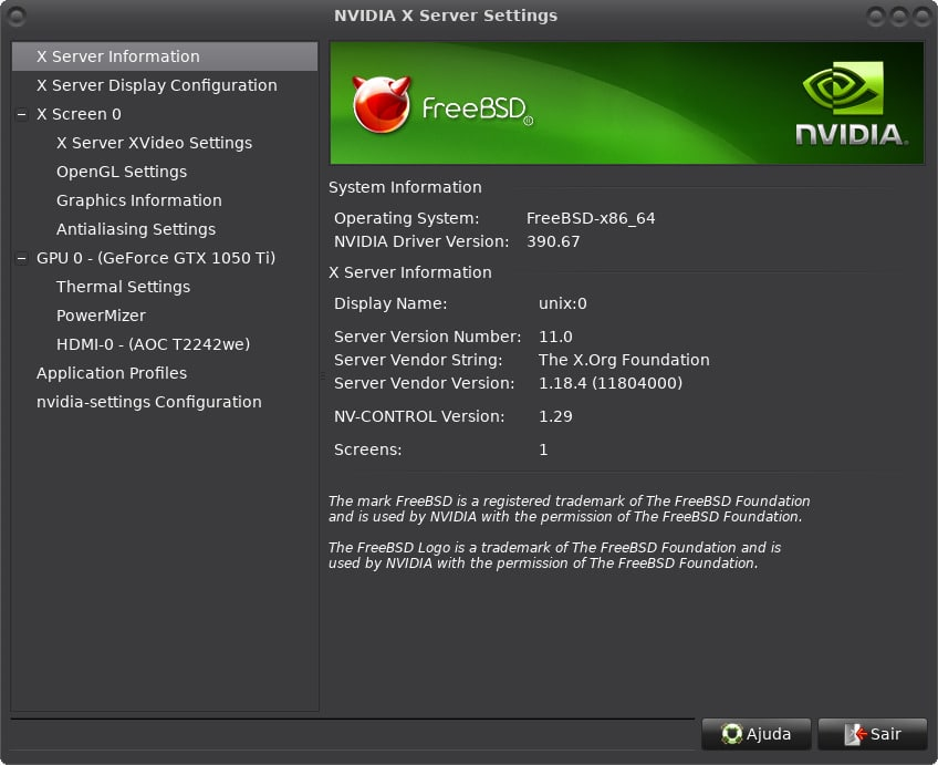 Como Instalar driver NVidia GeForce GTX 1050Ti no FreeBSD - nvidia settings