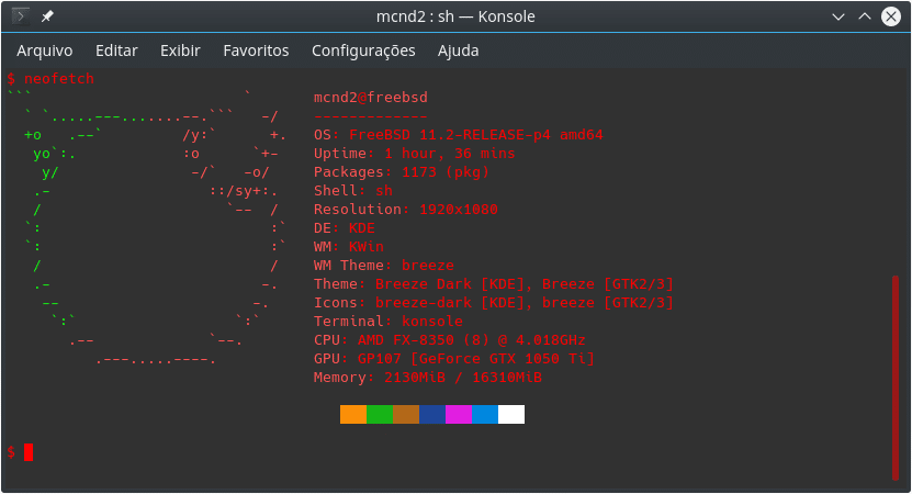 Instalar impressora HP no FreeBSD - neofetch