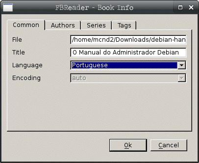 Instalar leitor de e-books no Debian - FBReader info do e-book