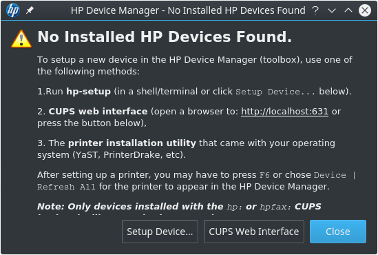 Instalar impressora HP no FreeBSD - HP Device Manager