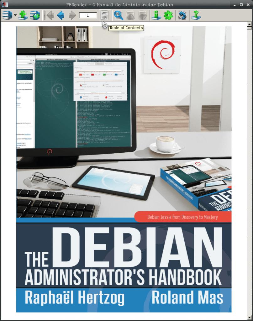 Instalar leitor de e-books no Debian - FBReader botão para o índice do e-book