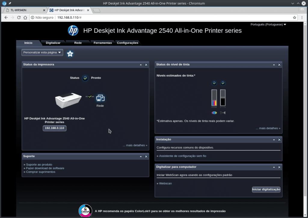 Instalar impressora HP no FreeBSD - Página de configuração HP via IP