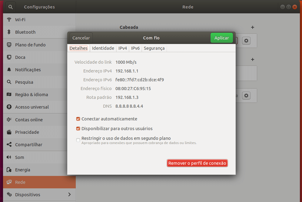 Como configurar IP fixo no Ubuntu
