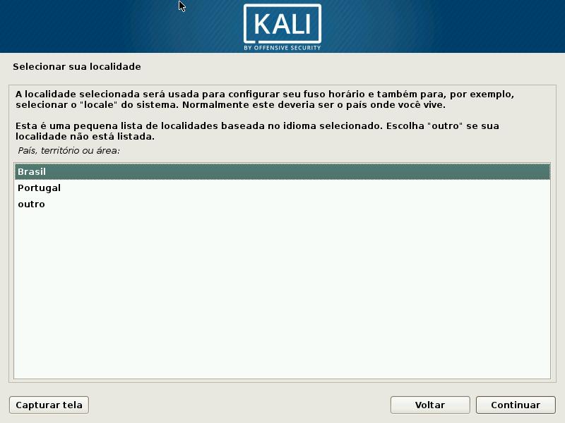 Kali Linux - Configurando a localidade