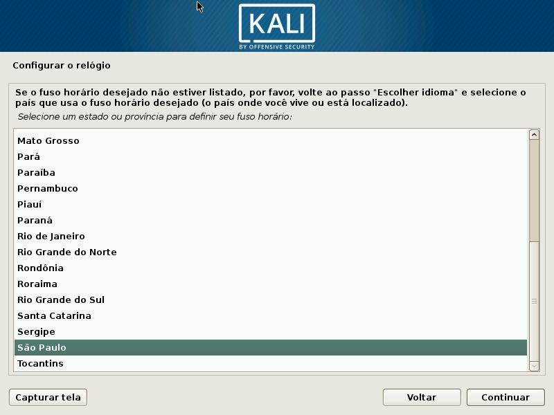 Kali Linux - Configurando fuso
