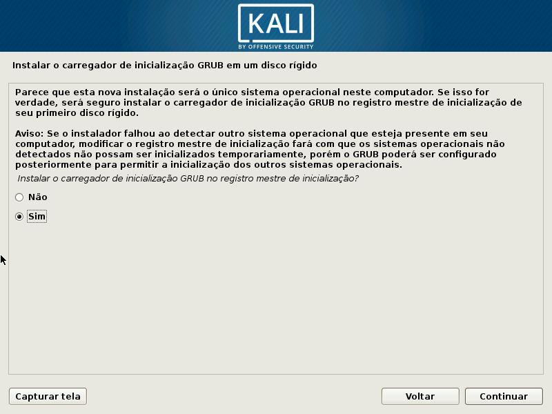 Kali Linux - Instalação GRUB