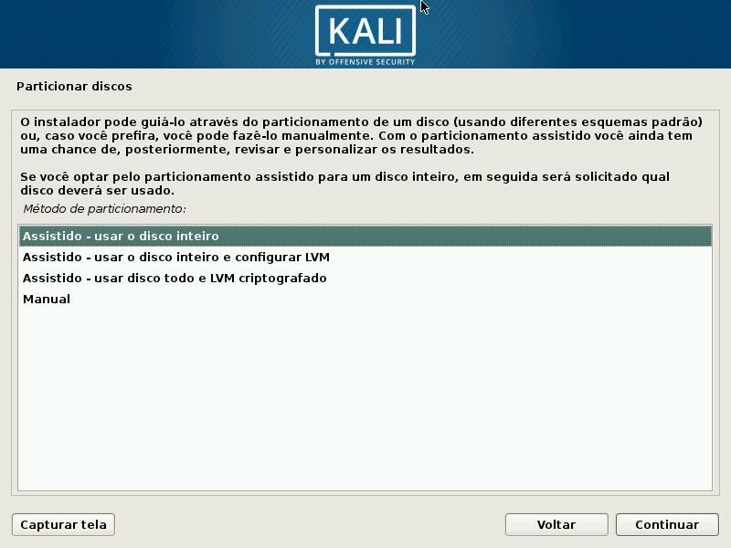 Kali Linux - Particionamento Assistido