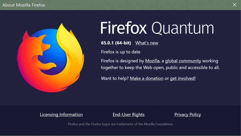 Mozilla libera versão 65.0.1 com correções de bugs e segurança