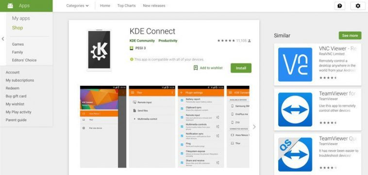 Google remove KDE Connect da Play Store