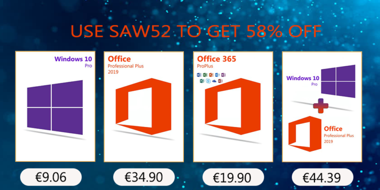 Promoção MMORC continua: Windows 10 pro key R$ 42,61, Office 2019 Pro R$ 164,13, and Office 2016 Pro R$ 100.