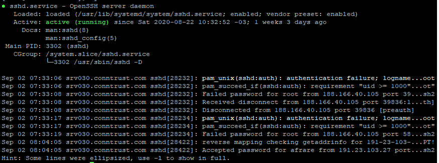 SYSTEMTCL STATUS SSHD