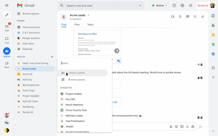 Gmail Google Chat Spaces 4