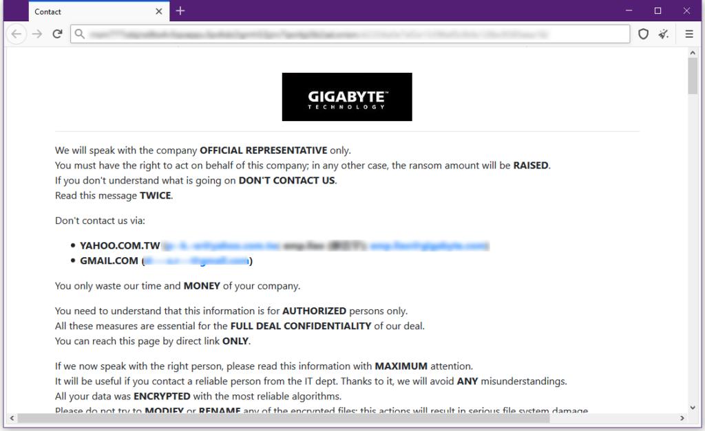 Hackers ameaçam vazar dados de um ataque de ransomware da Gigabyte