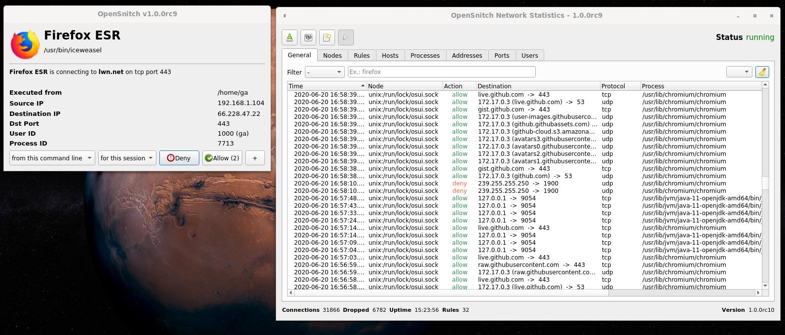 OpenSnitch Application Firewall 1.4.0 adiciona suporte para eBPF e nftables