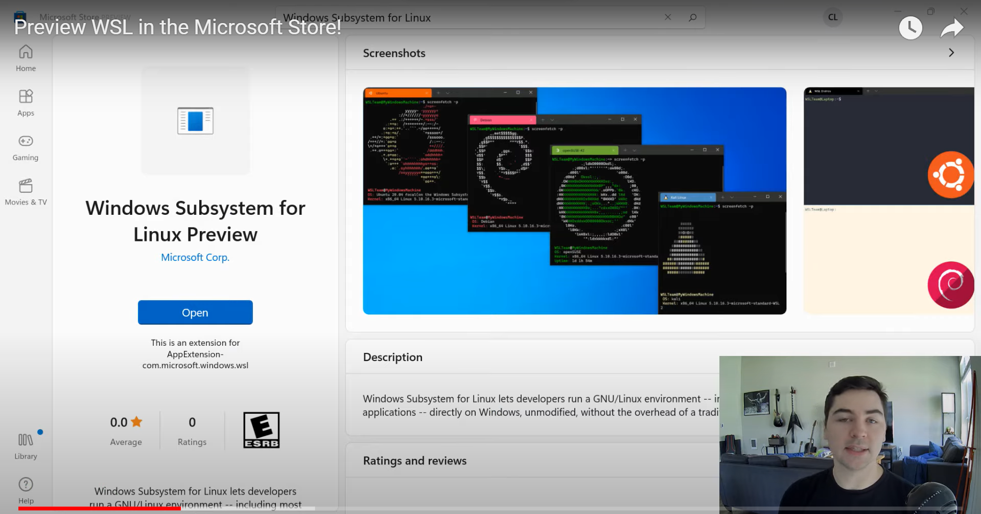 Microsoft publica WSL Preview dentro da Windows 11 Store